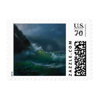 Stamp with ocean storm picture on it