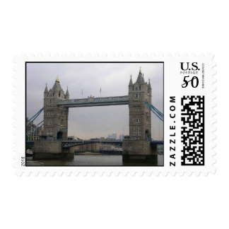 Stamp with Tower Bridge over the Thames River