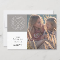 Stamped Dove Gray Holiday Photo Card