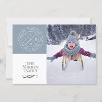 Stamped Dusty Blue Holiday Photo Card