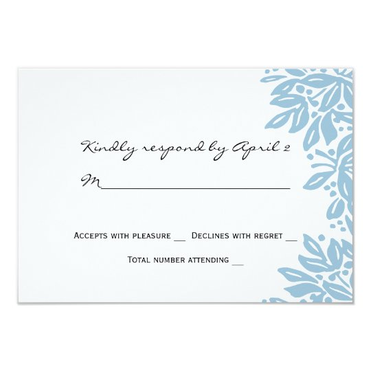 Stamped Floral Wedding Blue RSVP Card