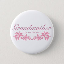 Stamped Floral Wedding Design Pinback Button