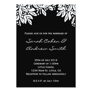 "Stamped Floral Wedding White Invite 5"" X 7"" Invitation Card"