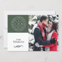 Stamped Forest Green Holiday Photo Card