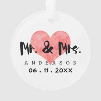 Stamped Heart Mr & Mrs Wedding Date