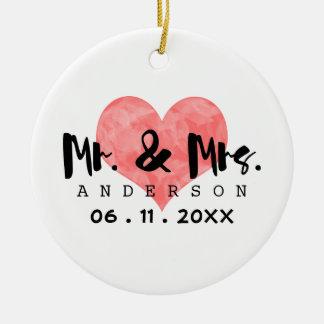 Stamped Heart Mr & Mrs Wedding Date Ceramic Ornament