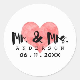 Stamped Heart Mr & Mrs Wedding Date Classic Round Sticker