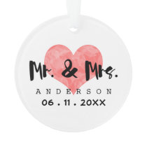 Stamped Heart Mr & Mrs Wedding Date Ornament
