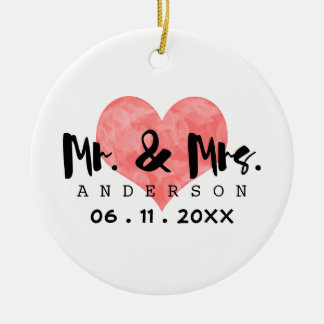Stamped Heart Mr & Mrs Wedding Date Double-Sided Ceramic Round Christmas Ornament