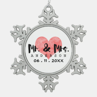 Stamped Heart Mr & Mrs Wedding Date Snowflake Pewter Christmas Ornament