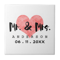 Stamped Heart Mr & Mrs Wedding Date Tile