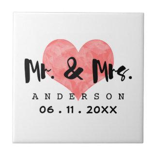 Stamped Heart Mr & Mrs Wedding Date Tile