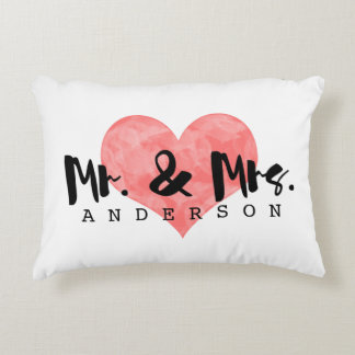 Stamped Heart Rustic Mr & Mrs Monogram Decorative Pillow