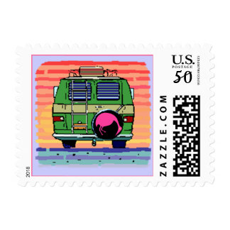 STAMPS-COLORFUL CONVERSION VAN CAMPING-FLAMINGO POSTAGE