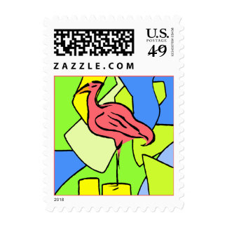 Stamps Coral Pink Flamingo Pier Abstract Ocean