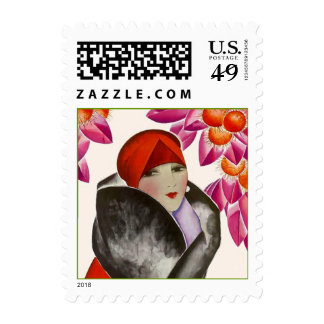 Stamps Fashionable Woman High Style Well Dressed
