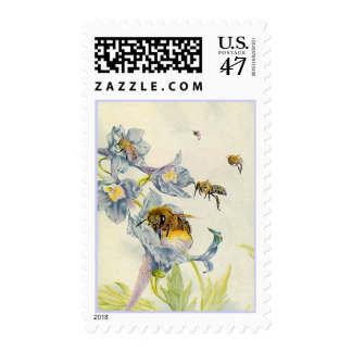 STAMPS ~ GARDEN BUSY AS A BEE HONEY BEES & FLOWERS