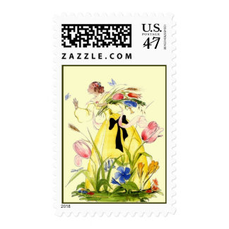 Stamps ~ Garden Party Lady Woman Flowers Butterfly