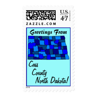 Stamps Map Greetings From North Dakota your county