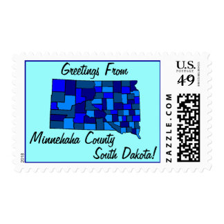 Stamps Map Greetings From South Dakota SD & county