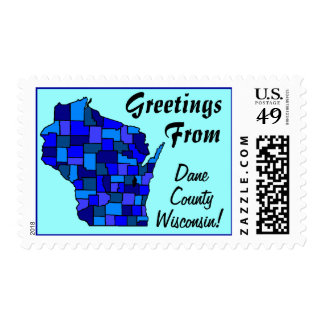 Stamps Map Greetings From Wisconin State county