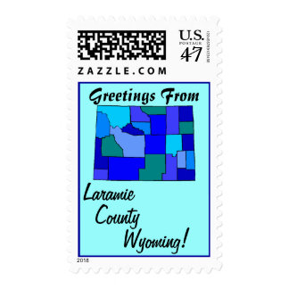 Stamps Map Greetings From Wyoming Your county