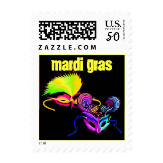 Stamps Mardi Gras colorful Masks Party Stamp