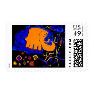 stamps postage elephant orange art walk