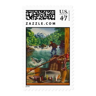 Stamps to match Invitation - FISHING COTTAGE CAMP!