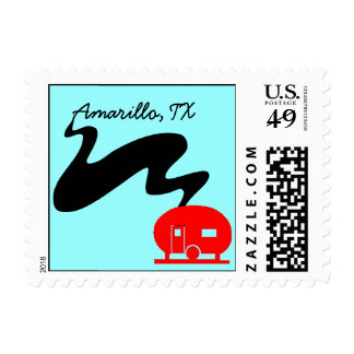 Stamps Vacation Camping Spot Travel Trailer retro