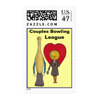 Stamps Vintage Anthropomorphic Bowling Couple Pin