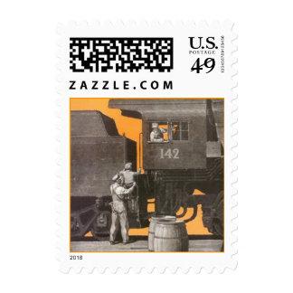 Stamps Vintage Nostalgic Train Engine Locomotive