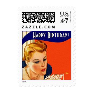 Stamps Vintage Style Retro Birthday Greeting Stamp