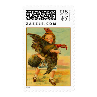 Stamps Vintage Thanksgiving Girl With Wild Turkey