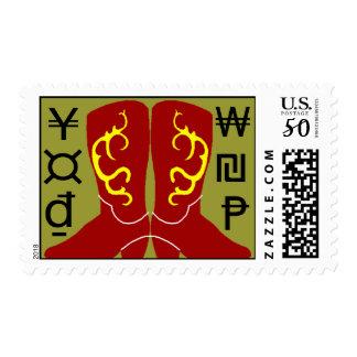 Stamps Western Cowboy Boots & Brands Random marks