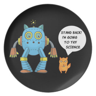 Stand Back Going To Try Science Funny Robot Cat Melamine Plate