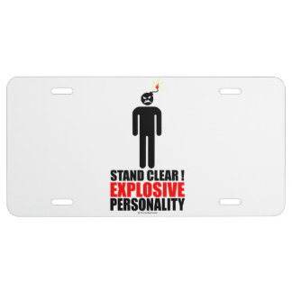 Stand clear! explosive personality license plate