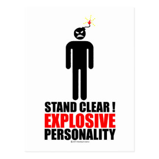 Stand clear! explosive personality post card