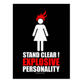 Stand clear! explosive personality postcard