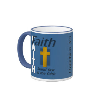 Stand Fast in the Faith Bible Verse Cross Mug
