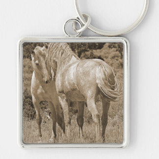 Stand Off Silver-Colored Square Keychain