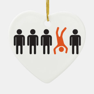 stand out from crowd head over heels ceramic ornament