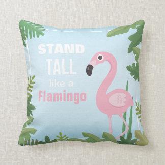 Stand Tall Like a Flamingo Tropical Throw Pillow