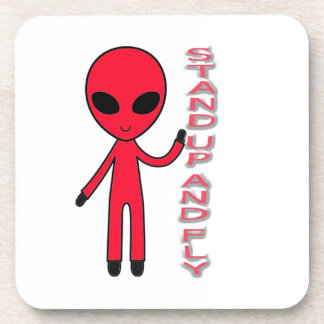 Stand up And fly Funny Alien Drink Coaster