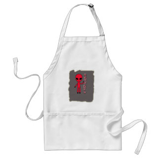 Stand up And fly Funny Alien Sweet Color Gray Adult Apron