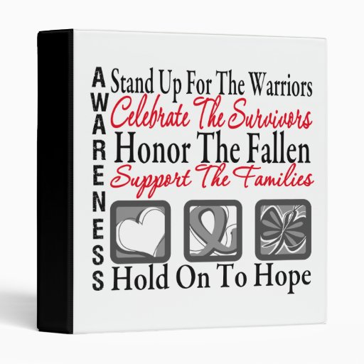 Stand Up Celebrate Honor Collage Brain Cancer Vinyl Binders