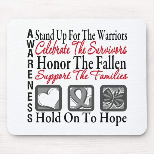 Stand Up Celebrate Honor Collage Brain Cancer Mouse Pads