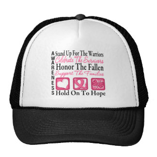 Stand Up Celebrate Honor Collage Breast Cancer Trucker Hat