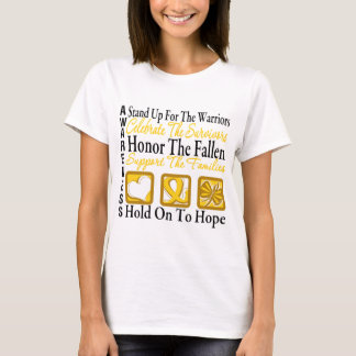 Stand Up Celebrate Honor Collage Childhood Cancer T-Shirt