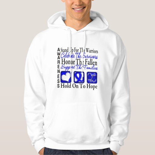 Stand Up Celebrate Honor Collage Colon Cancer Hooded Pullovers